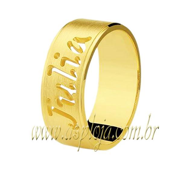 Aliança reta personalizada nomes vazado ouro amarelo 18K-750 largura 7,00mm-ASP-AL57