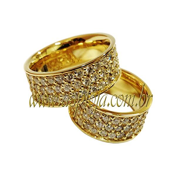 Par de alianças para Noivado ou Casamento linha diamante em ouro amarelo ou branco 18K-750 8.00 mm-ASP-AL43