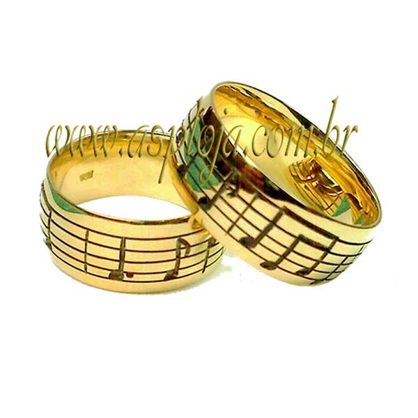 Aliança para os Amantes das Notas Musicais de Noivado ou Casamento em Ouro Amarelo ou Branco 7.00mm-ASP-AL45B