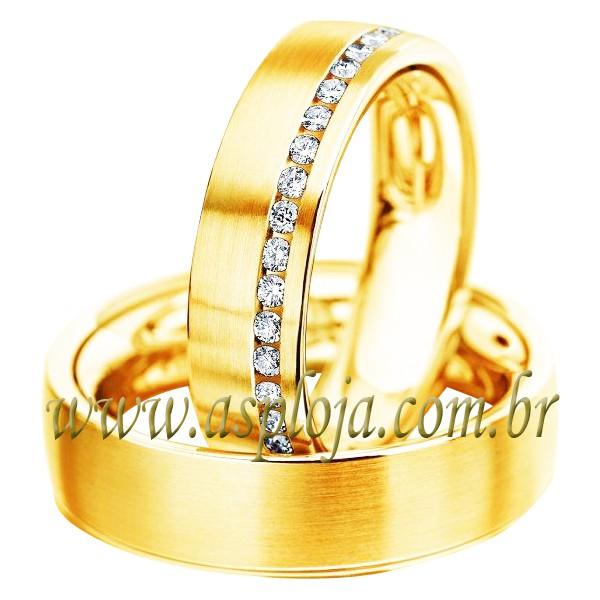 Par de Aliança ouro amarelo 18K - 750 noivado ou casamento anatômica cravejada com diamantes-6,0 mm-ASP-AL-52