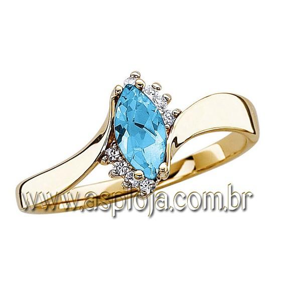 Anel de formatura em Ouro amarelo 18k 750 - pedra navete e pedras laterais em diamantes