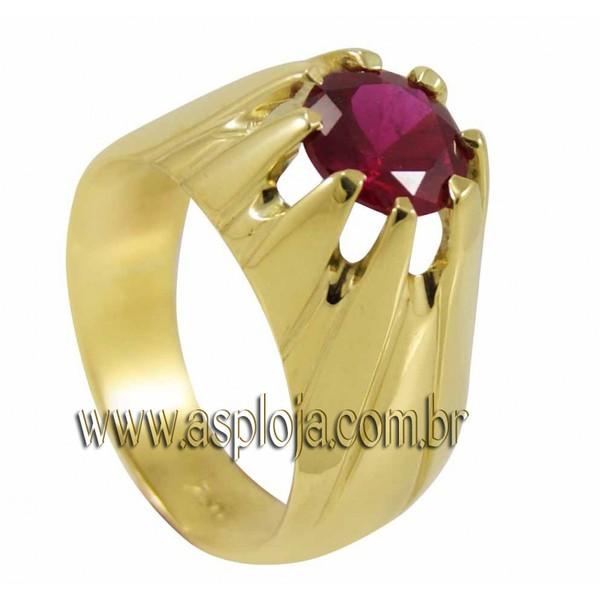Anel de formatura em Ouro Amarelo 18K 750 com pedra redonda sintética de 7,0 mm