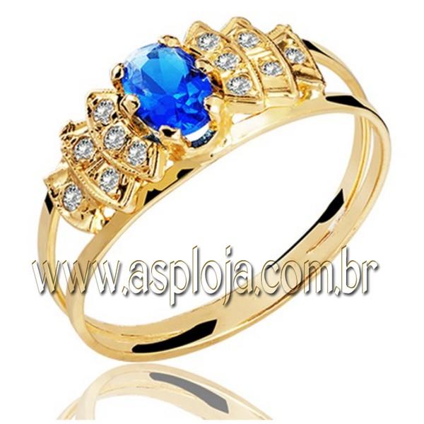 Anel de formatura em Ouro amarelo 18k 750 - pedra oval e pedras laterais em diamantes