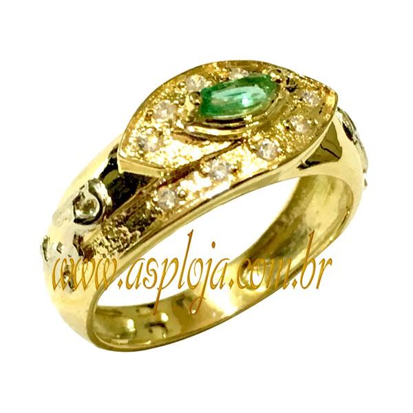 Anel de Formatura Pedra Central Navete e 10 Pedras de Diamante em Ouro Amarelo 18K 750 - ASP-AF-201