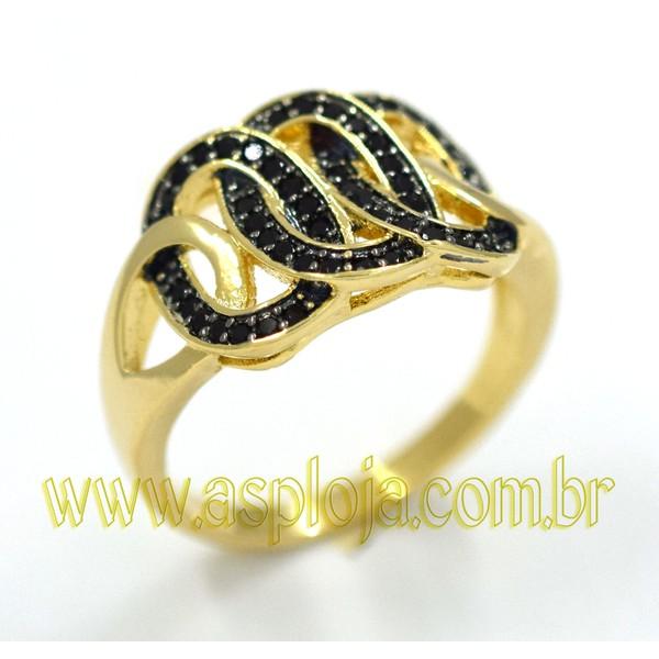 Anel de Ouro 18K Com Diamantes Negros