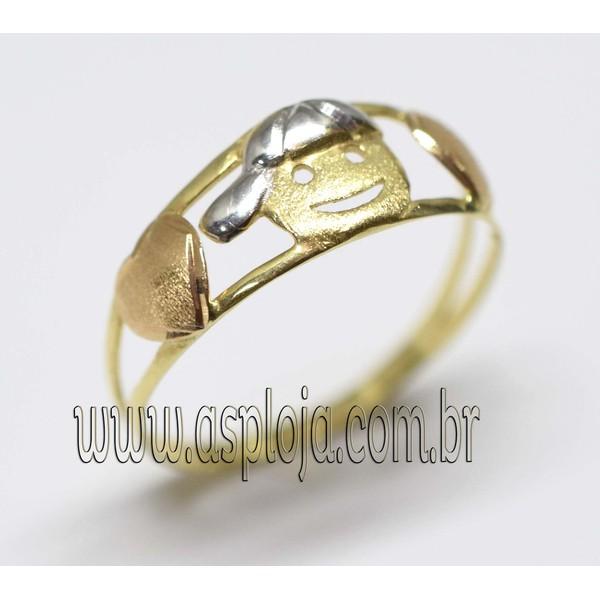 AN-4164-Anel de Ouro 18K Meu Filho Menino Corações