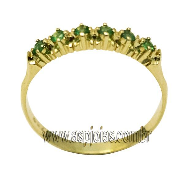 Anel Meia-Aliança Pedra Esmeralda em Ouro 18K 750