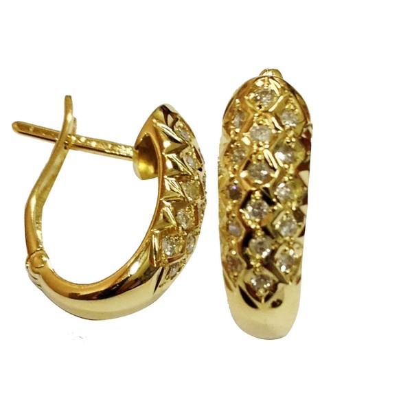 Brinco Argola Oval com 32 diamantes de 1.00 ponto ouro amarelo 18K 750-ASP-BR02
