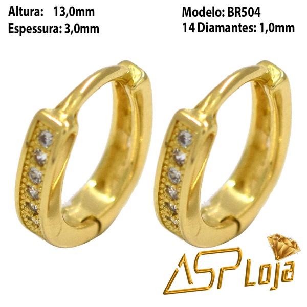Brinco Argola de Ouro 18k Com Pedras Diamantes-BR504