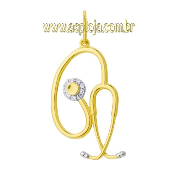 Pingente de Ouro 18k de Formatura Simbolo Estetoscópio