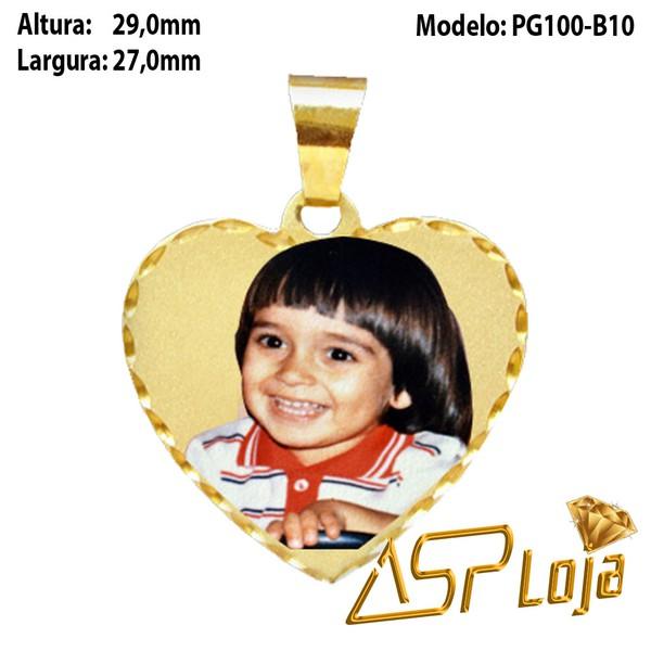 Pingente Fotogravação Coração em Ouro 18K B-10