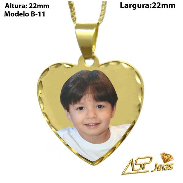 Pingente Fotogravação Ouro 18k Coração Borda Burilada PG101-B11