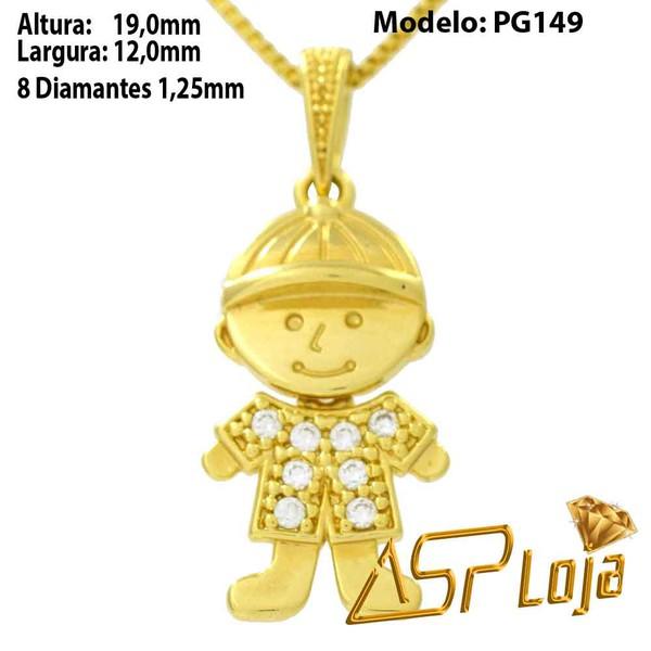 Pingente em Ouro 18k Menino de Boné Com Pedras-PG149