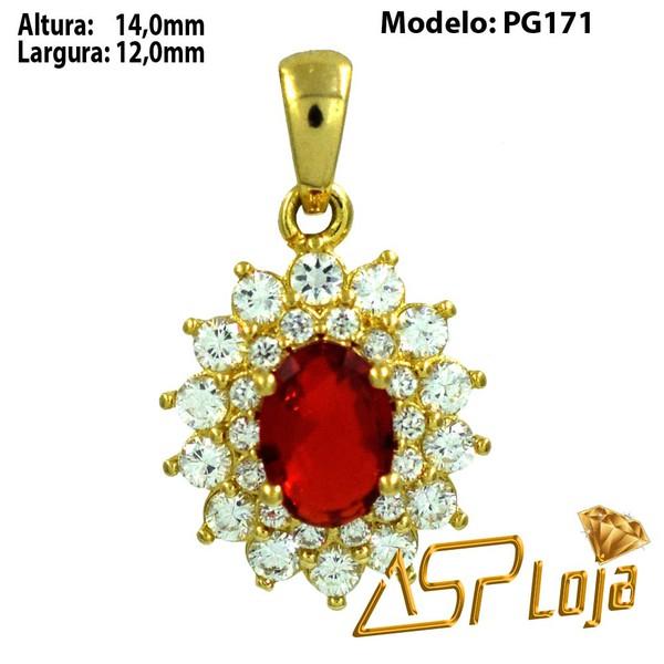 Pingente em Ouro 18K Pedra Oval Rubi Com Diamantes-PG171