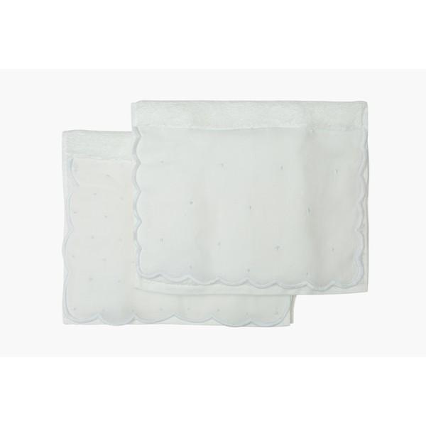 Set toalha de lavabo poás branco