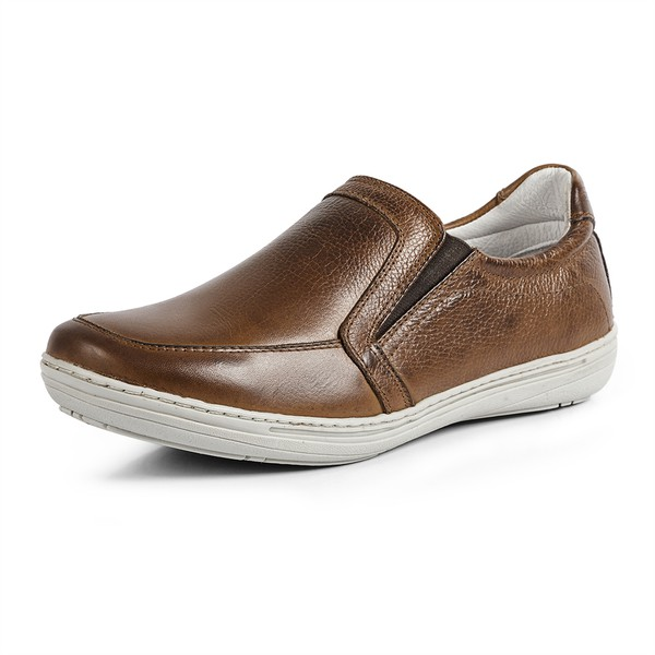 Sapatênis Casual Atualshoes Couro Natural Whisky Conforto