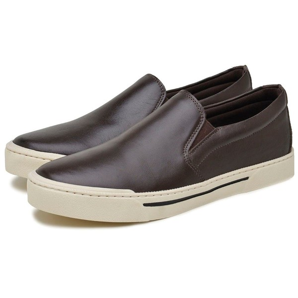 Sapatênis Masculino Atualshoes Couro Marrom IT