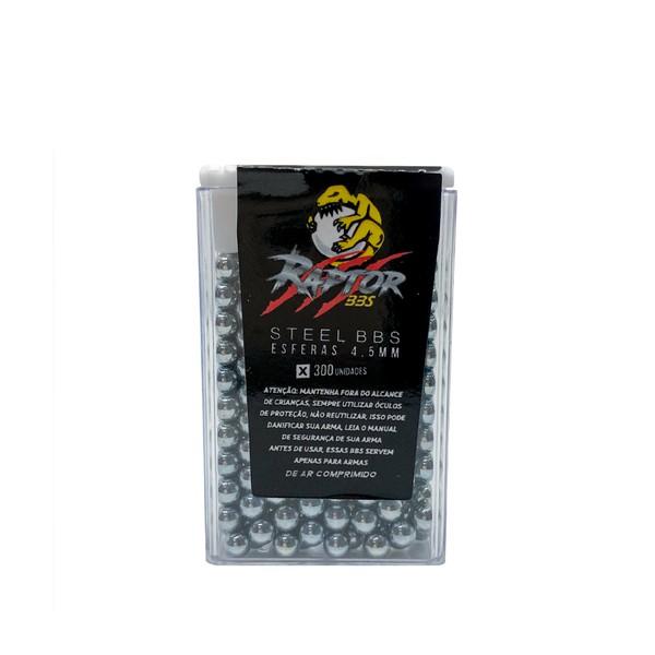 Municao BBs Esfera Metal Aco Niquel 4.5mm RAPTOR - 300 bolinhas