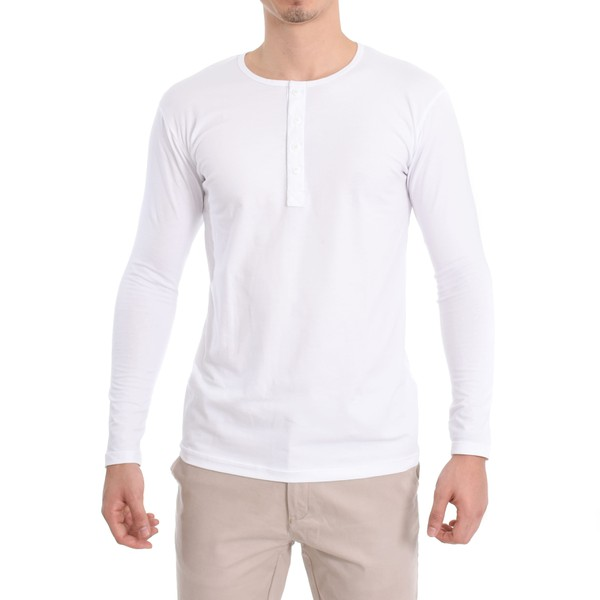 Camisa Henley Manga Longa Branca