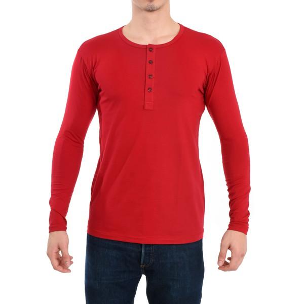 Camisa Henley Manga Longa Vermelho