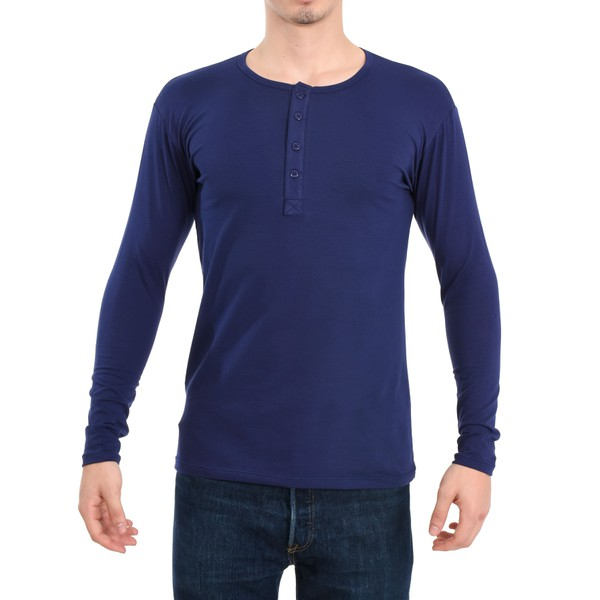 Camisa Henley Manga Longa Azul
