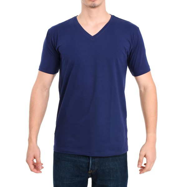 Camiseta Gola V Manga Curta Azul