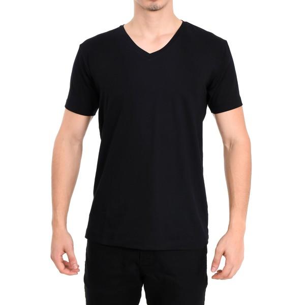 Camiseta Gola V Manga Curta Preto
