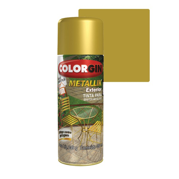 COLORGIN SPRAY METALLIK EXTERIOR OURO 350ML