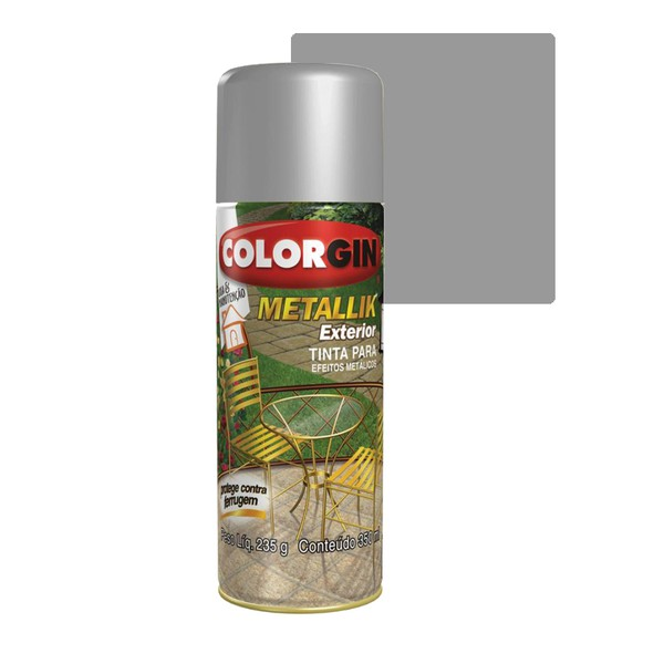 COLORGIN SPRAY METALLIK EXTERIOR PRATA 350ML
