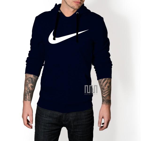Blusa Moleton Nike Espada C/ Capuz Casaco De Frio Azul