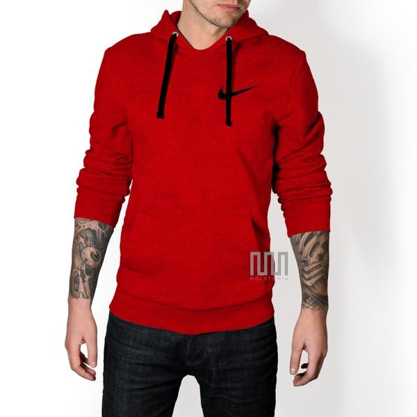 Blusa Moleton Nike Classic Unissex C/ Capuz Casaco De Frio Vermelha