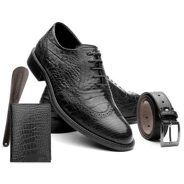 Kit Austrália Preto - Sapato + Cinto + Carteira + Calceira - Bernatoni Calçados