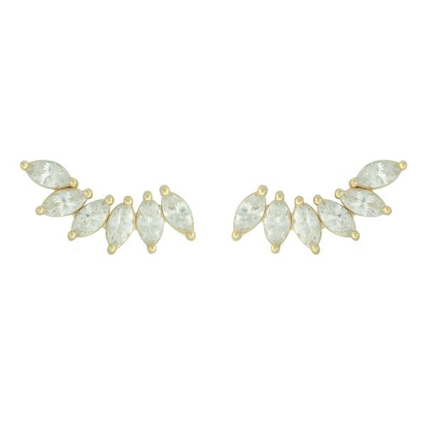 Brinco Ear Cuff Zircônia Lesprit Dourado Cristal