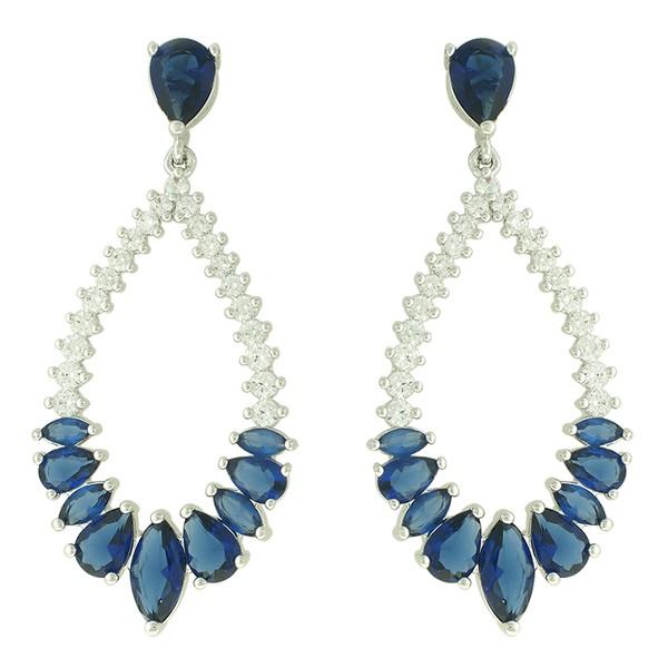 Brinco Zircônia Lesprit Ródio Azul Safira e Cristal