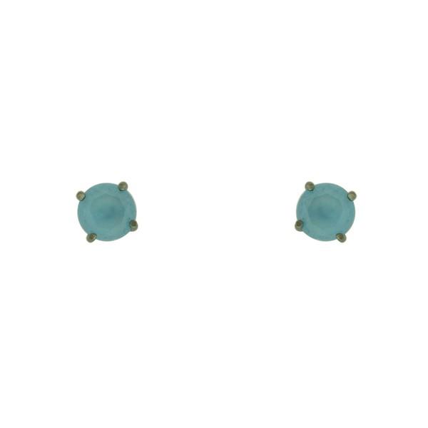 Brinco Solitário Zircônia Lesprit Ródio Negro Azul Leitoso 6mm