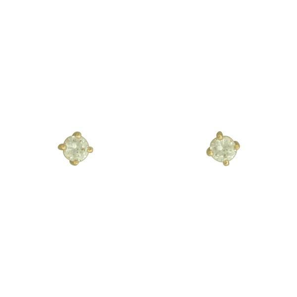 Brinco Solitário Zircônia Lesprit Dourado Cristal 4 mm