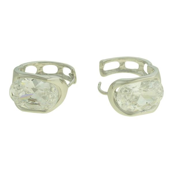 Brinco Argola Zircônia Lesprit U9A051221 Ródio Cristal