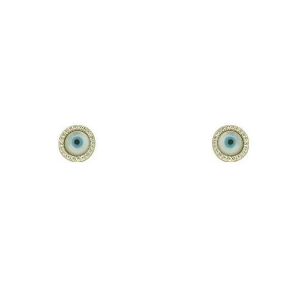 Brinco Olho Grego Lesprit U18A040061 Dourado Cristal E Madrepérola