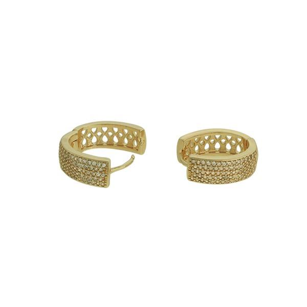 Brinco Argola Zircônia Lesprit U18K170521 Dourado Cristal