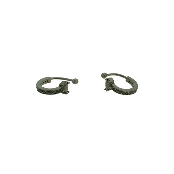 Brinco Piercing de Pressão Zircônia Lesprit U19A010271 Ródio Negro Preto