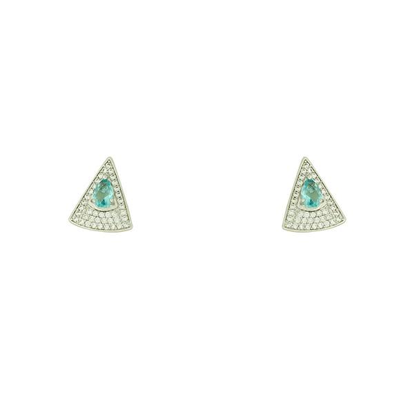 Brinco Zircônia Lesprit U18K100311 Ródio Azul Claro e Cristal
