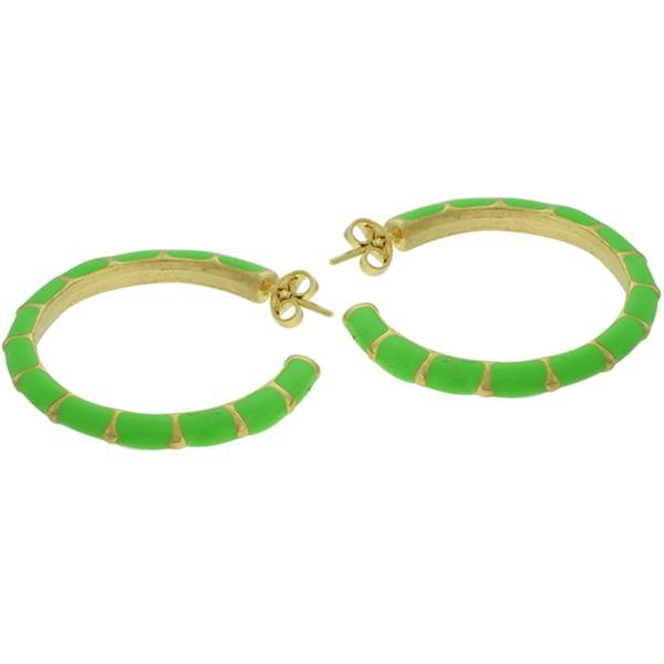 Brinco Argola Esmaltado Lesprit Dourado Verde