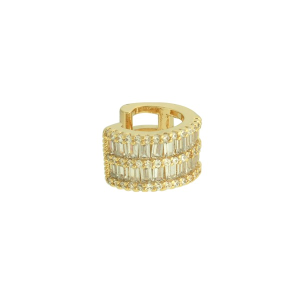 Brinco Piercing de Pressão Zircônia Lesprit LB14071WGL Dourado Cristal