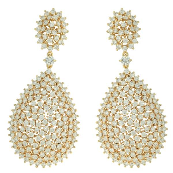 Brinco Zircônia Lesprit LB20151WGL Dourado Cristal