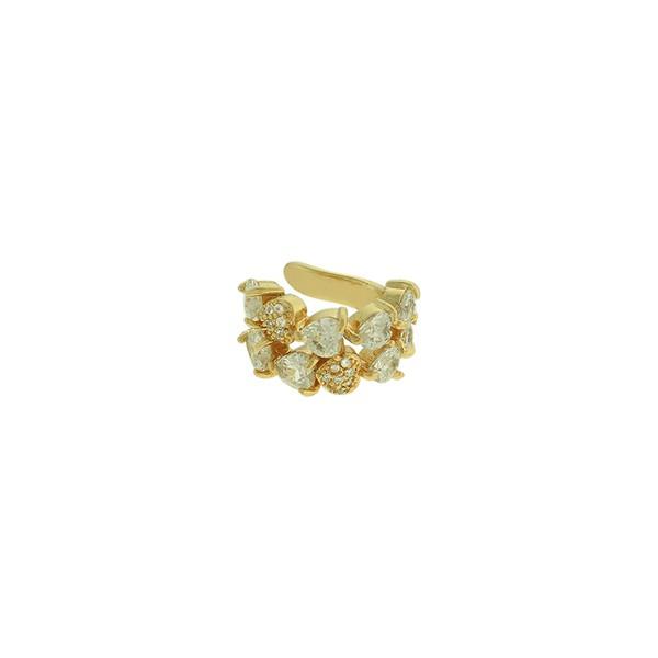 Brinco Piercing de Pressão Zircônia Lesprit LB21551 Dourado Cristal