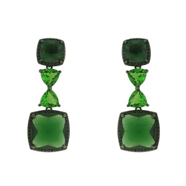 Brinco Zircônia Lesprit LB17781BOEMBK Ródio Negro Verde