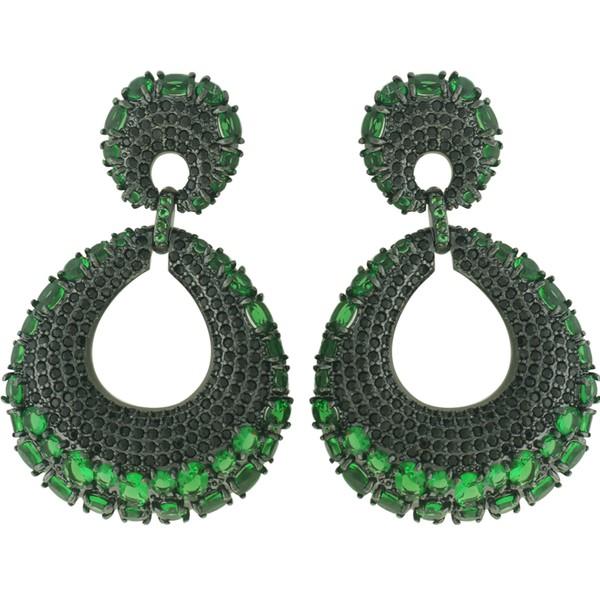 Brinco Zircônia Lesprit LB22401 Ródio Negro Verde Esmeralda