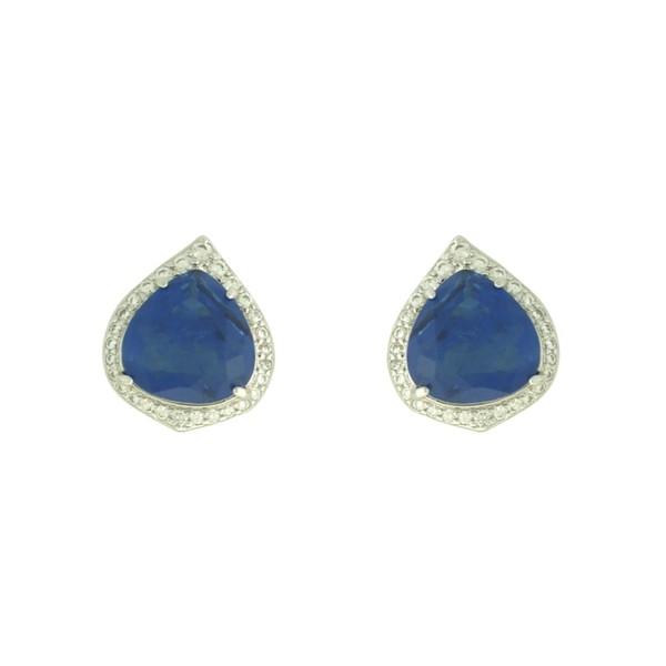 Brinco Zircônia Lesprit LB22371 Ródio Azul Safira