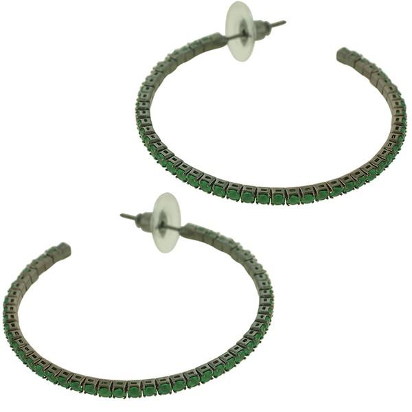 Brinco Argola Zircônia Lesprit KZB5461 Ródio Negro Verde Leitoso