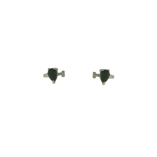 Brinco Piercing de Pressão Zircônia Lesprit 15447 Ródio Negro Preto